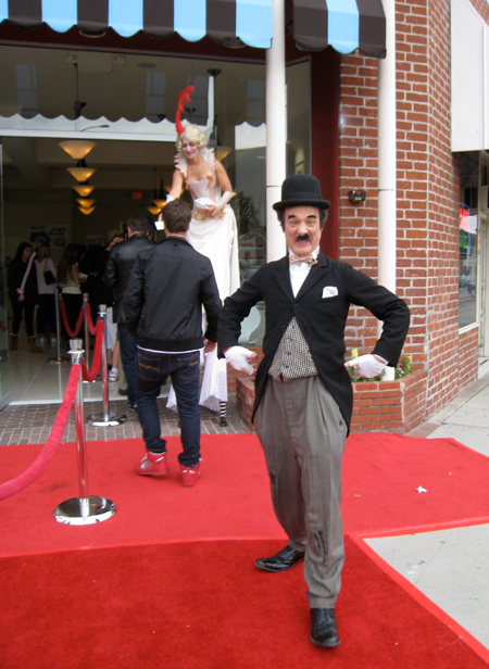 Charlie Chaplin - er, Jeffrey Weissman - at the opening of Famous Cupcakes