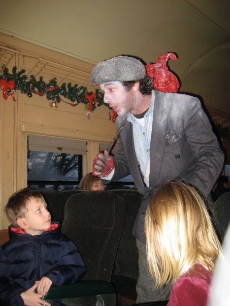 Jeffrey Weissman as the Hobo on the California Railroad Museum's Polar Express