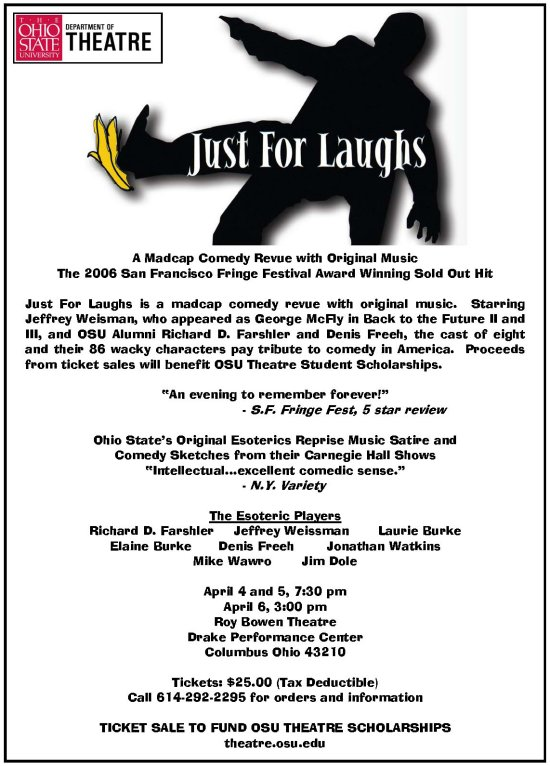 Just For Laughs - A Madcap Comedy Revue, 3 performances only benefitting the OSU Theatre department scholarship program