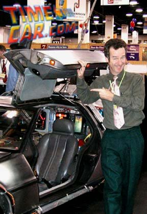 Jeffrey Weissman standing by the world famous Back to the Future Delorean at the recent release of the new 2006 documentary Return to the Future